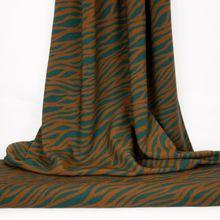 Groene viscose met donker oranje zebra-strepen
