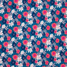 Blauwe viscose met rood bloemen motief