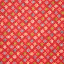 Rode katoen met multicolor motief