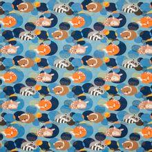 Blauwe tricot met vosjes, (was)beertjes en hertjes