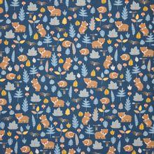 Donkerblauwe tricot met beertjes, vleermuisjes en herfstmotief