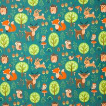 Turquoise katoen met herfstdierenmotief