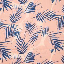 Roze viscose met blauwe bladeren canopy kobalt