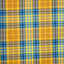Geel/blauw geruite polyester viscose stretch twill van Milliblu's