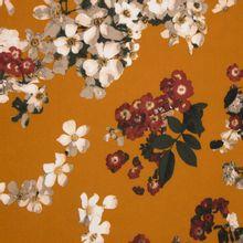 Oker polyester tricot met bloemen