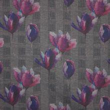 Geruite polyester/ viscosetricot met tulpen van 'My Image'