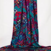 Polyester/ viscosemengeling met multicolor abstracte print van Miss Doodle