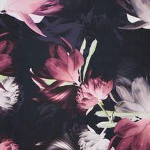 Zwarte polyester met grote bloemen  van John Kaldor