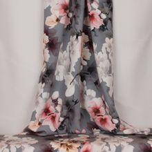 Rekbare grijze polyester met bloemen van John Kaldor
