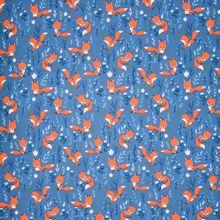 Blauwe tricot met vosjes en planten