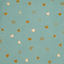 Turquoise geribbelde katoen met oker en gouden metallic hartjes