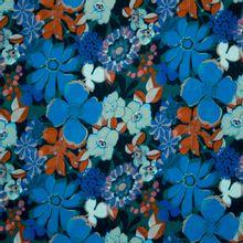 Donkerblauwe viscose met bloemen