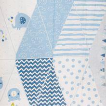 Katoen paneel blauw baby vlaggenlijn