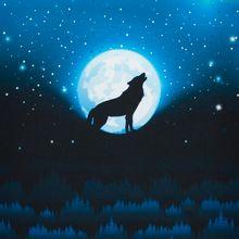 French terry paneel blauw met huilende wolf