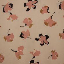 Beige polyester met oudroze bloemen van La Maison Victor