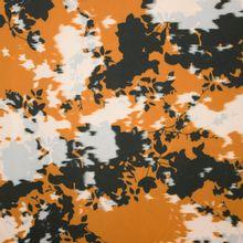 Bruine rekbare polyester met abstract bloemenmotief van La Maison Victor