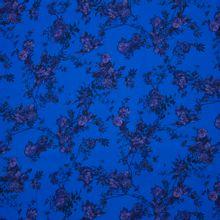 Blauwe viscose twill met paarse bloemen van La Maison Victor
