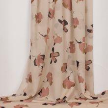 Doorschijnende beige polyester met oudroze bloemen van La Maison Victor