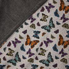 Grijze gemeleerde sweaterstof met vlinders van B - Trendy