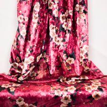 Roze fluweel polyester met bloemen