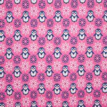 Roze jacquardtricot met pinguïns en ijskristallen