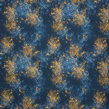 Donkerblauwe tricot met spikkels in blauw en oker