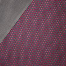Donkergrijze sweaterstof met bolletjesmotief en zachte grijze achterkant