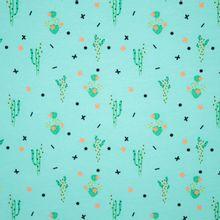 Lichtblauwe katoen tricot met cactusmotief