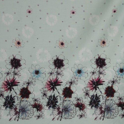 Soepele gesatineerde katoen met bloemenboord