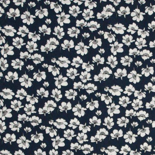 Soepele crépe donkerblauw met witte bloemen
