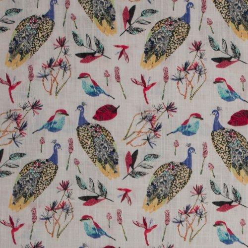 Soepele katoen/viscose met vogeltjes