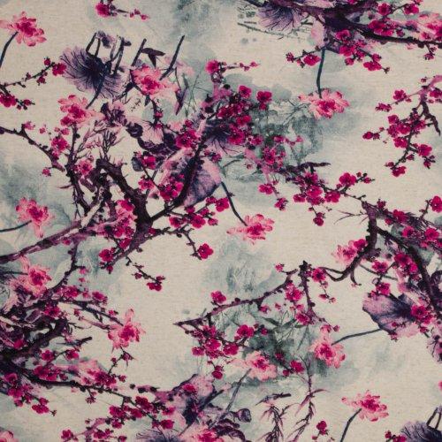 Viscose tricot met takken- en bloemenmotief