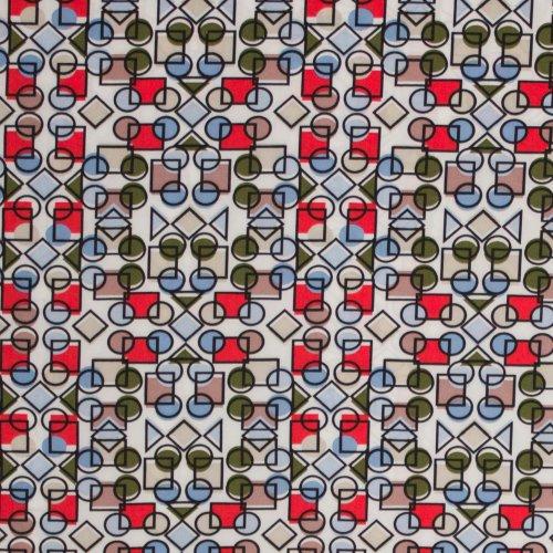 Soepele polyester/elastan met geometrisch motief