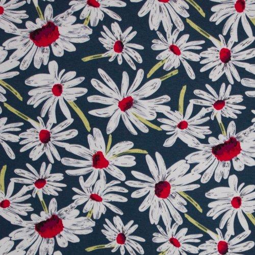 Viscose tricot blauw met grote bloemen