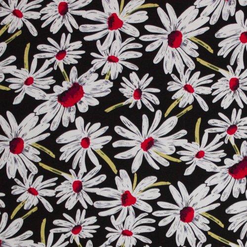 Viscose tricot zwart met grote bloemen
