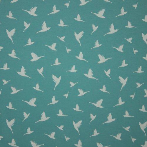 Tricot in muntkleur met witte vogels