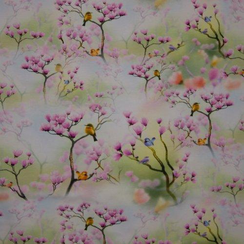 tricot met lentebloesem en vogeltjes