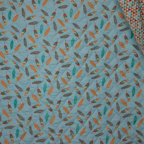 katoen matelassé  lichtblauw/oranje