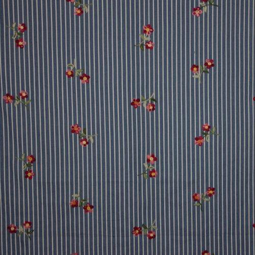 Lichtblauw gestreept jeans bloemenmotief