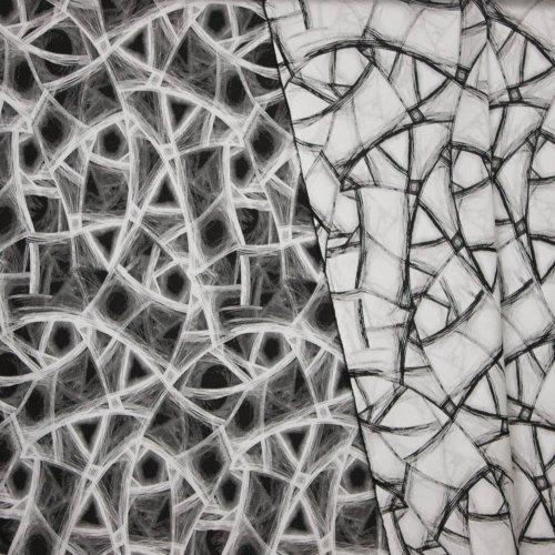 Polyester viscose double face fantasie motief
