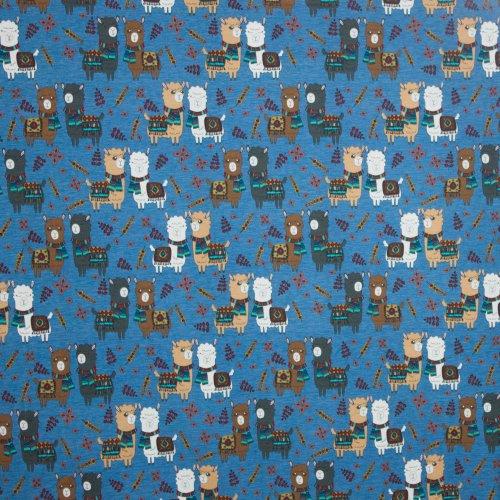 Grijsblauwe katoen tricot  alpacamotief