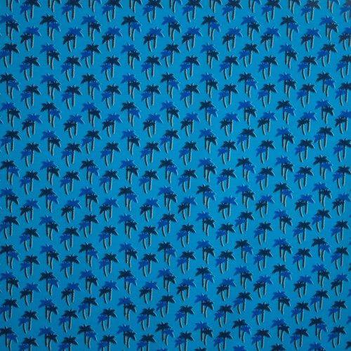 Blauwe katoen tricot met palmboommotief