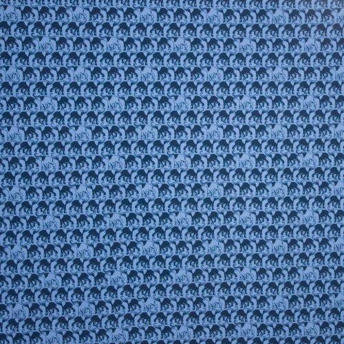 Organische katoen tricot jeansblauw olifanten