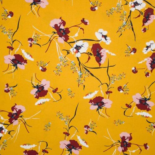 Gele viscose met bloemenmotief
