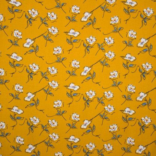 Gele crepe met bloemenmotief