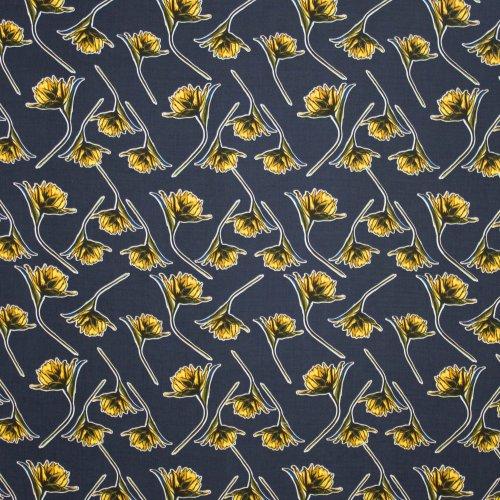Donkerblauwe viscose met geel bloemmotief