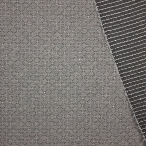 sweaterstofje met quilt motief in grijs en zilver afwerking