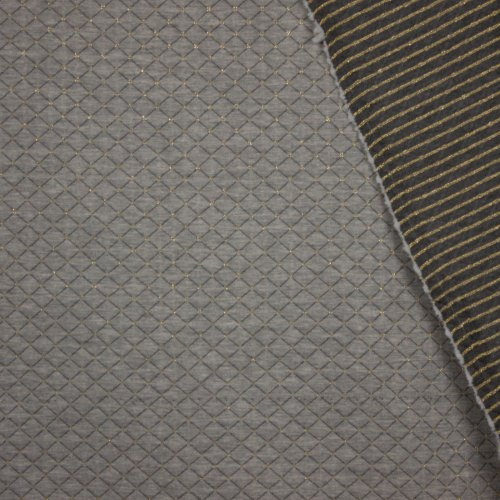 Sweaterstof in grijs met quiltmotief in goud