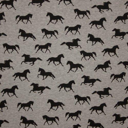 Soepele sweaterstof in lichtgrijs met paardmotief