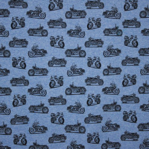 french terry in lichtblauw met moto motief